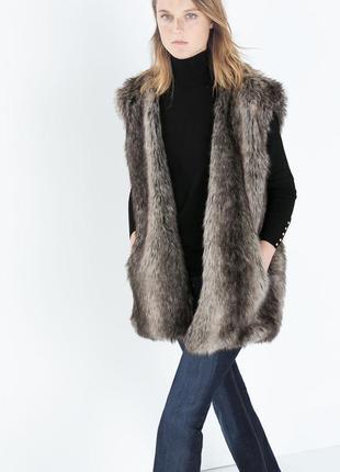 Шерстяная 31%-шерсть жилетка из пушистого эко меха zara knit