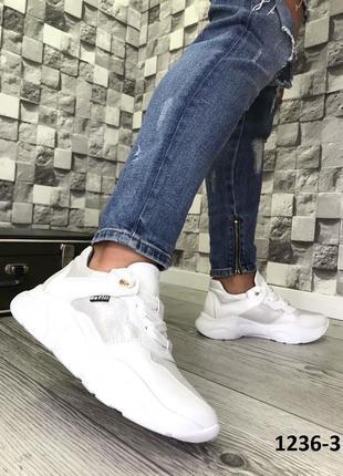 Эксклюзивные белые кроссовки из натуральной кожи