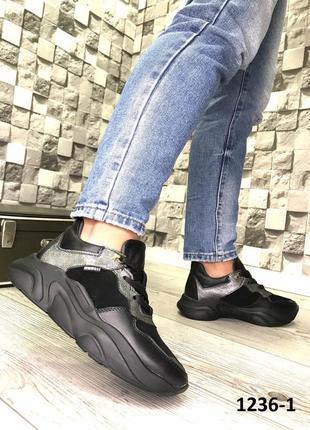 Эксклюзивные чёрные кроссовки из натуральной кожи