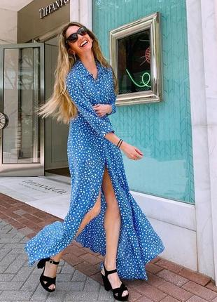 Голубое платье рубашка миди zara