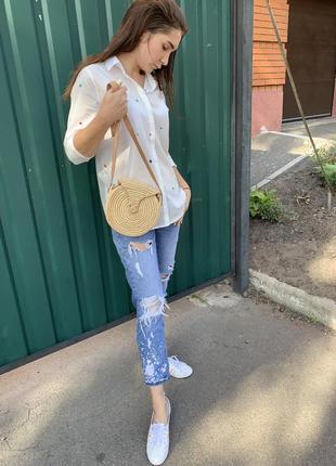 Плетённая сумка , соломенная сумка ,сумка из ротанга , плетённая круглая сумка шоппер