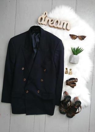 Актуальный винтажный шерстяной маскулинный двубортный пиджак marks & spencer