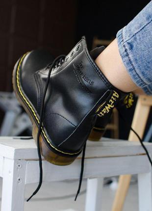 Шикарные женские чёрные кожаные ботинки dr.martens black 😍 {демисезон/ без меха}