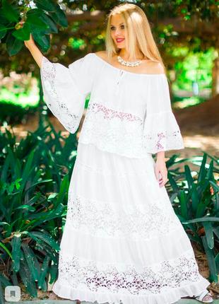 Изящный кружевной костюм юбка с блузкой белый и синий fresh-cotton