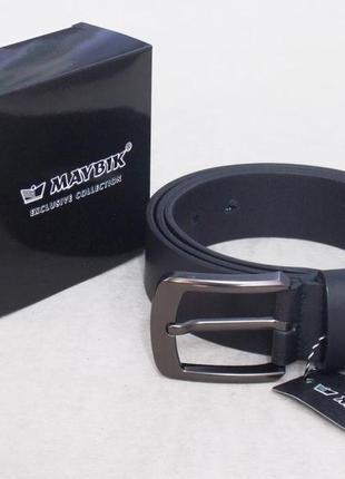Мужской кожаный ремень maybik + подарочная упаковка