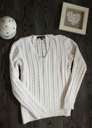 Базовый свитер джемпер поло с косами