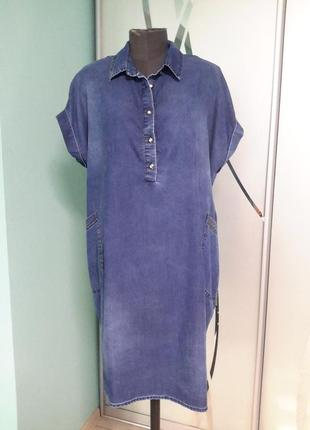 Стильное джинсовое платье с декором