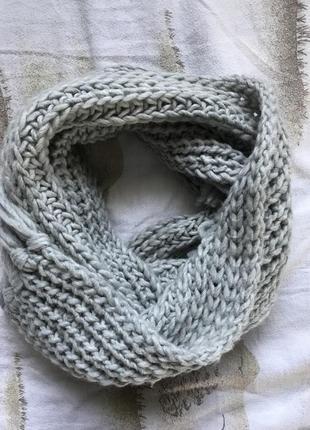 Шарф крупної в'язки , сірий шарф clockhouse, шарф з шерстю