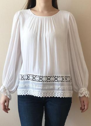 #розвантажуюсь блузка белая zara с ажурной вышивкой