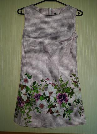 Яркое хлопковое платье-футляр в цветочный принт для девочки