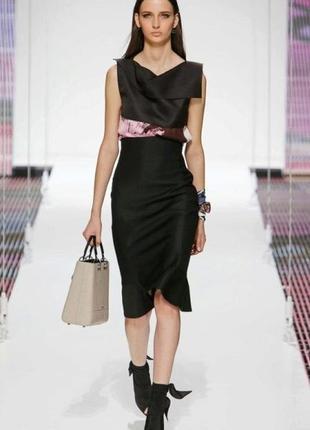 Брендовое черно-белое атласное вечернее миди платье без рукавов с бантом asos турция