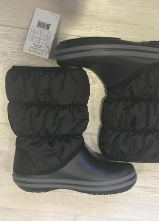 Зимние сапоги crocs winter puff boot, черные, w6,