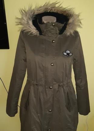 Демисезонна парка на весну-осінь, деми куртка с мехом,теплая,хаки
