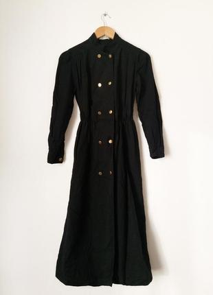 Шерстяное зимнее миди платье рубашка черное стильное с поясом