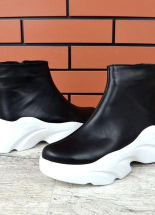 Натуральная кожа грубые кожаные осенние ботинки на массивной подошве