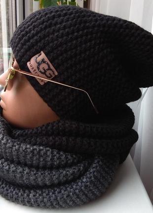 Новый комплект: шапка-чулок (на флисе) и хомут-восьмерка двухцветный, черно-серый
