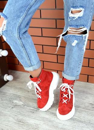 Натуральная замша эффектные замшевые осенние ботинки на массивной подошве