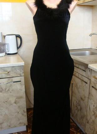 Платье черное бархатное вечернее стрейчевое xs/s