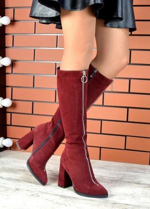 Натуральная замша роскошные замшевые осенние сапоги с острым носком на высоком каблуке