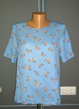 Топ блуза кофточка прямого кроя в бабочки