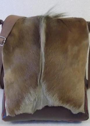 Крупная брутальная мужская сумка кожа мех