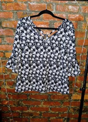 Стильная блуза кофточка с бантом и рукавами воланами papaya