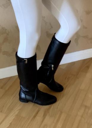 Сапоги жокейские трубы низкий ход left&right осенние кожаные чёрные стиль gucci