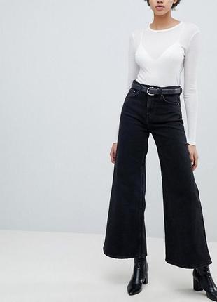 Винтажные чёрные мом джинсы джинси mom прямые расклешенные кюлоты клеш высокая посадка