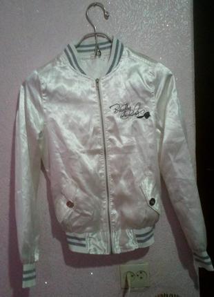 Продам белую атласную куртку/бомбер