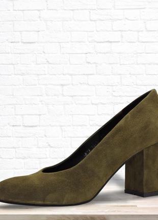 Женские туфли six оливковые
