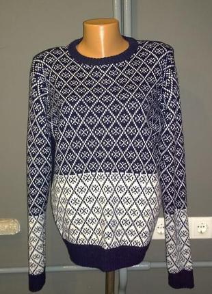 Уютный пуловер джемпер свитер с принтом из мягкой пряжи