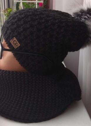 Новый комплект: удлиненная шапка(полный флис) с бубоном и хомут-восьмерка