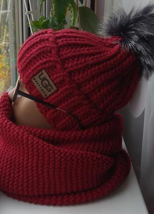 Новый комплект: шапка на флисе(с бубоном) и хомут-восьмерка, бордовый