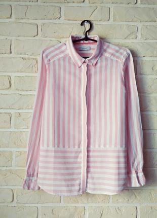 Классная, стильная, льняная рубашка в полоску
