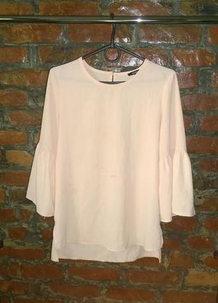 Блуза топ кофточка пастельного кремового оттенка с рукавами воланами pep&co