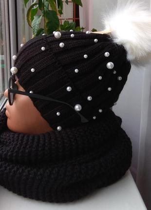 Новый комплект: шапка с бусинами(полный флис) и хомут-восьмерка, черный