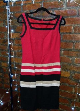 Контрастное платье сарафан чехол футляр из смеси льна и вискозы marks & spenser