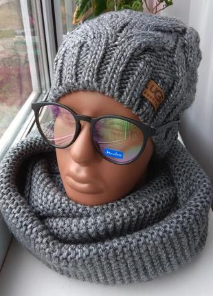 Новый  комплект: шапка с люрексом(полный флис) и хомут-восьмерка, темно-серый