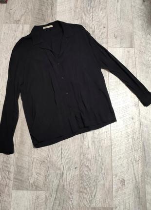 Черная блуза рубашка вискоза