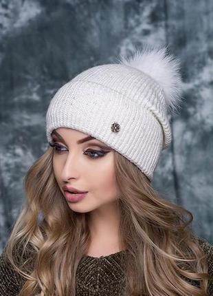 Зимняя шапочка фиеста на флисе. мех нат песец