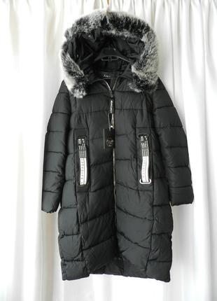 ✅ зимняя куртка  пальто с мехом  на капюшоне эко кролик  размер 56