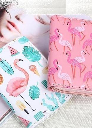 Хит! новый классный короткий кошелек на молнии розовый фламинго