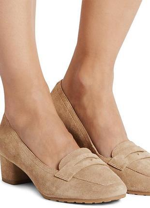 Замшевые туфлифли на блочном каблуке на широкую ногу 41 размера с нюансом
