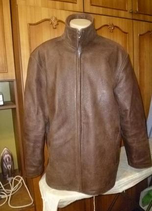 Натуральная неубиваемая мужская кожаная куртка(кожанка)с лазерным напылением осень-зима