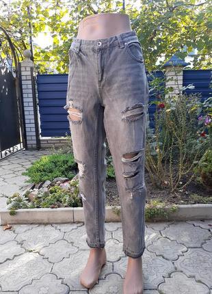 Крутые серые джинсы бойфренды от h&m
