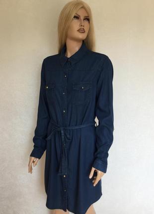 Платье рубашка из облегчённого денима f&f размер 14