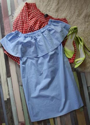 Хлопковое платье с рюшей