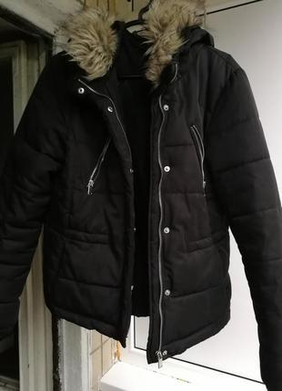 H&m чёрная короткая куртка курточка синтипон мех