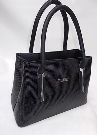 Женская сумка из кожзама с длинной ручкой 758 черная