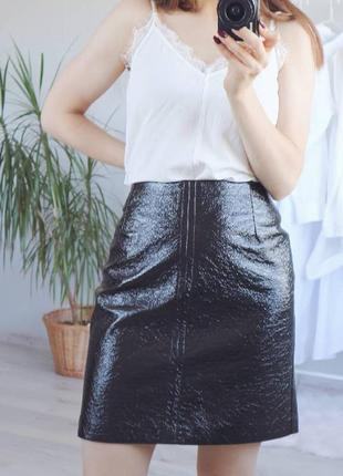 """""""кожаная"""" юбка, лаковая"""
